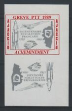 GREVE 1989 AJACCIO 2 vignettes - VARIETE - Tete Beche CONCORDE CORSE ESPACE TGV