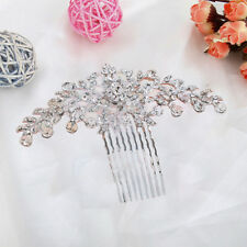 Bridal Hair Comb Headpiece Wedding Flower Diamante Crystal Design UK Rhinestone