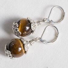Orecchini donna Occhio di Tigre naturale 11,5mm argento Gioielli Artigianali