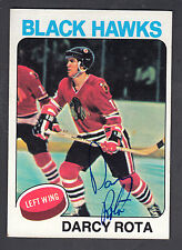 Darcy Rota Hand Signed 1975-76 Topps Hockey Card #66 Blackhawk In Person Auto