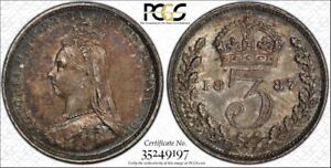 1887 3D S-3931 Jub Head Great Britain Certified PCGS AU58 Silver Coin