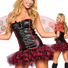 Ladies 4 Piece Sexy Ladybird Costume Size 10-12 Boppers Wings Dress and Thong