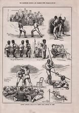OLD ANTIQUE 1879 PRINT LONDON ATHLETIC CLUB ST JAMES HALL ASSAUALT OF ARMS b117