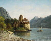 Gustave Courbet The Castle of Chillon Evening Giclee Paper Print Poster