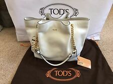 NWT Authentic Tod's Flower Micro Women's White Leather Hand Shopper Bag Tote