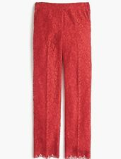 J.Crew Sz 8 Easy Pant in Lace Red Scalloped Hem NWT