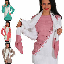 2er Set Pullover + langer Schal Bicolor Strick Pulli Sweater Zopf Top Winter Neu