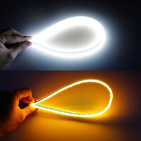 2* 60CM Amber Slim Sequential Flexible LED DRL Turn Signal Strip for Headlight