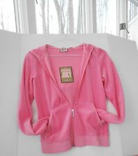 Juicy Couture Pink/Coral Hooded Velour Jacket - Size Large