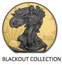 NEW!! American Eagle REVERSE BLACKOUT Silver Dollar Ruthenium & 24K Gold w/ COA