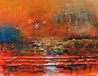 """Original Abstract Oil Painting, Landscape, Signed, by Nalan Laluk, """"Sea of Fire"""""""