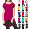 Fashion Women's Scoopneck Short Sleeve High Low Hem Long Tunic Top Dress T-Shirt