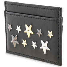 Jimmy Choo Men's Card Case Star Black/Silver Dean Card Case Leather