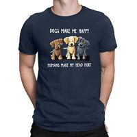 Dogs Make Me Happy Humans Make My Head Hurt T-Shirt Dog Lover Shirts Men's Tee