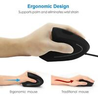 USB Wired Left Hand Vertical Mouse Ergonomic Gaming Mouse Wrist Healthy Mouse TG