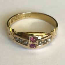 Lovely Antique Solid 15ct Rose Gold Seed Pearl & Ruby Dress Ring Size L 1894