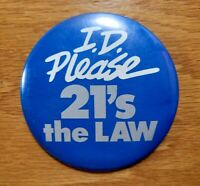 I.D. PLEASE 21's THE LAW Vintage Retail Store Employee Badge Pinback Pin Button