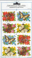 BUTTERFLY FLORAL SPRING PAPER EMBOSSED STICKER GERMANY CARD SCRAP CRAFT DECORATE