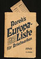 Borek's Boreks Europa Liste für Briefmarken  21. Jhg. 1941 Katalog Borek