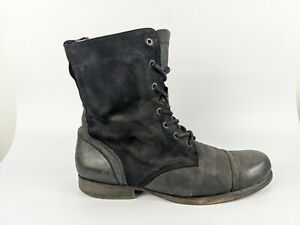 All Saints Mens Distressed Leather Military Boots Uk 9 Eu 43