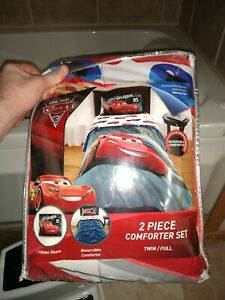 Disney Pixar Cars 3 Twin Full Kids 95  Comforter Sham 2 set Reversible mcqueen