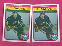 2 X 1982-83 OPC # 33 SABRES JF SAUVE  ROOKIE NRMT-MT CARD (INV# C2410)