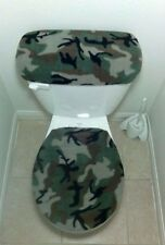 Army Green Camo Fleece Fabric Toilet Seat Cover Set Bathroom Accessories