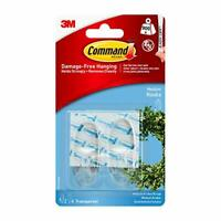 Command 17091CLR Medium Hooks with Strips - Clear, set of 2