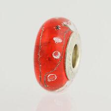 NEW Chamilia Murano Glass Bead - Sterling Silver Charm Red Bubbles Design