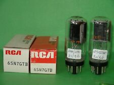 2 Tall RCA 6SN7 GTB Black Plates Vacuum Tubes Very Strong  Coin Base