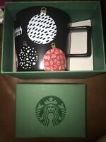 Starbucks 2016 14 oz Holiday Mug Black with Christmas Tree OrnamentsIn Box