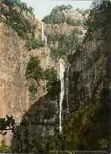 Madeira. Rabacal. Risco Waterfall. Photochrome original d'époque, Vintage p