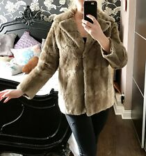Good ladies light brown/beige real fur short Sacks & Brendlor COAT / JACKET. S M