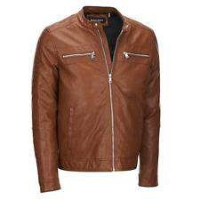 Black Rivet Mens Faux-Leather Jacket W/ Quilted Shoulders