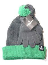 London Fog Boy's Knit Jacquard Beanie with Pom Gloves Solid Magic Green OS NWT