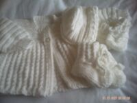 Hand Knitted Whit Baby Coat With Matching Hat, Mitts And Bootees Size 0-3 Months