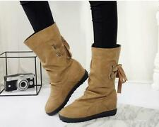 Womens Mid Calf Slouch Boots Ladies Lace Up Flat Low Heel Booties Shoes Big Size