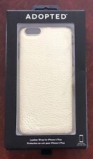 NEW ADOPTED APPLE iPhone 6 Plus WHITE & GOLD Cell Phone LEATHER Wrap CASE Mobile
