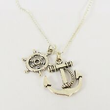 ANCHOR & HELM CHARM NECKLACE vintage rockabilly nautical sailor pin up pirate