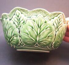 Majolica Green Leaf Bowl By j Willfred Vintage