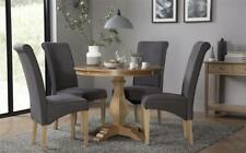 Cavendish Round Oak Dining Table - with 4 Stamford Slate Chairs