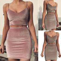 Womens Velvet Strappy Crop Top+Mini Dress Bodycon Club Party Skirt Set Two-piece