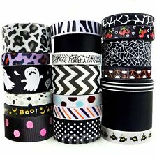 "20x1 Yards Assorted Grosgrain Ribbon 20 Styles 3/8""--1.5"" Black Theme Craft Bo"