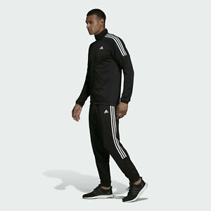 Adidas Genuine Mens Athletics Team Sports Black Tracksuit Set Size XL NEW