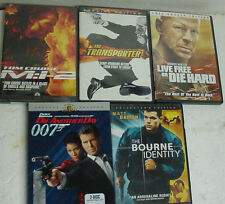 LOT x5 DVDS transporter live free die hard mi2 bourne itdentity another day 007