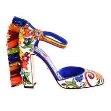 Dolce & Gabbana Majolica Mary Jane Pumps Shoes Valley White Blue Orange 07452
