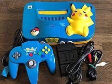 Pikachu Nintendo64 Game Console System Blue & yellow pokemon F/S Japan USED