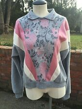 Vintage Floral Print Collared Fleece Top-Gray/Pink