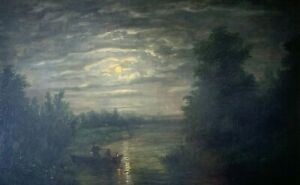 William E. Norton (1843-1916) Nocturnal Scene Oil Painting c 1900 NO RESERVE