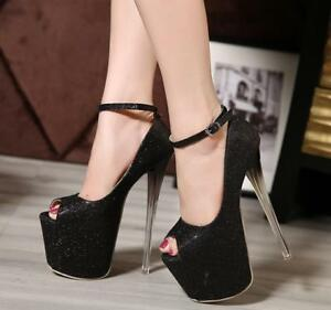 Womens Sparkly Super High Heels Platform Ankle Strap Buckle Stiletto Club Shoes